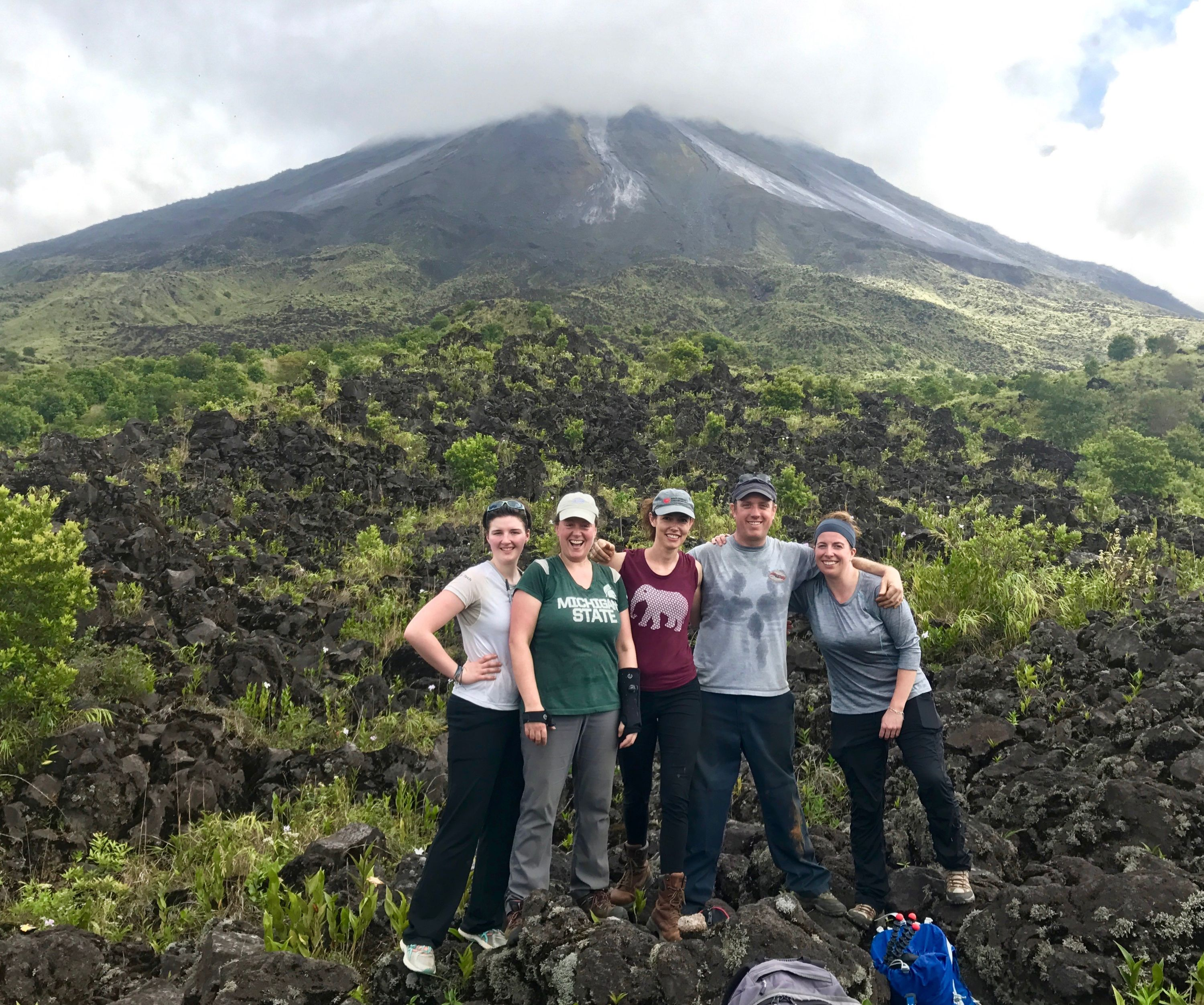 Miller(second fron left)and colleagues at Coasta Rican Volcano site