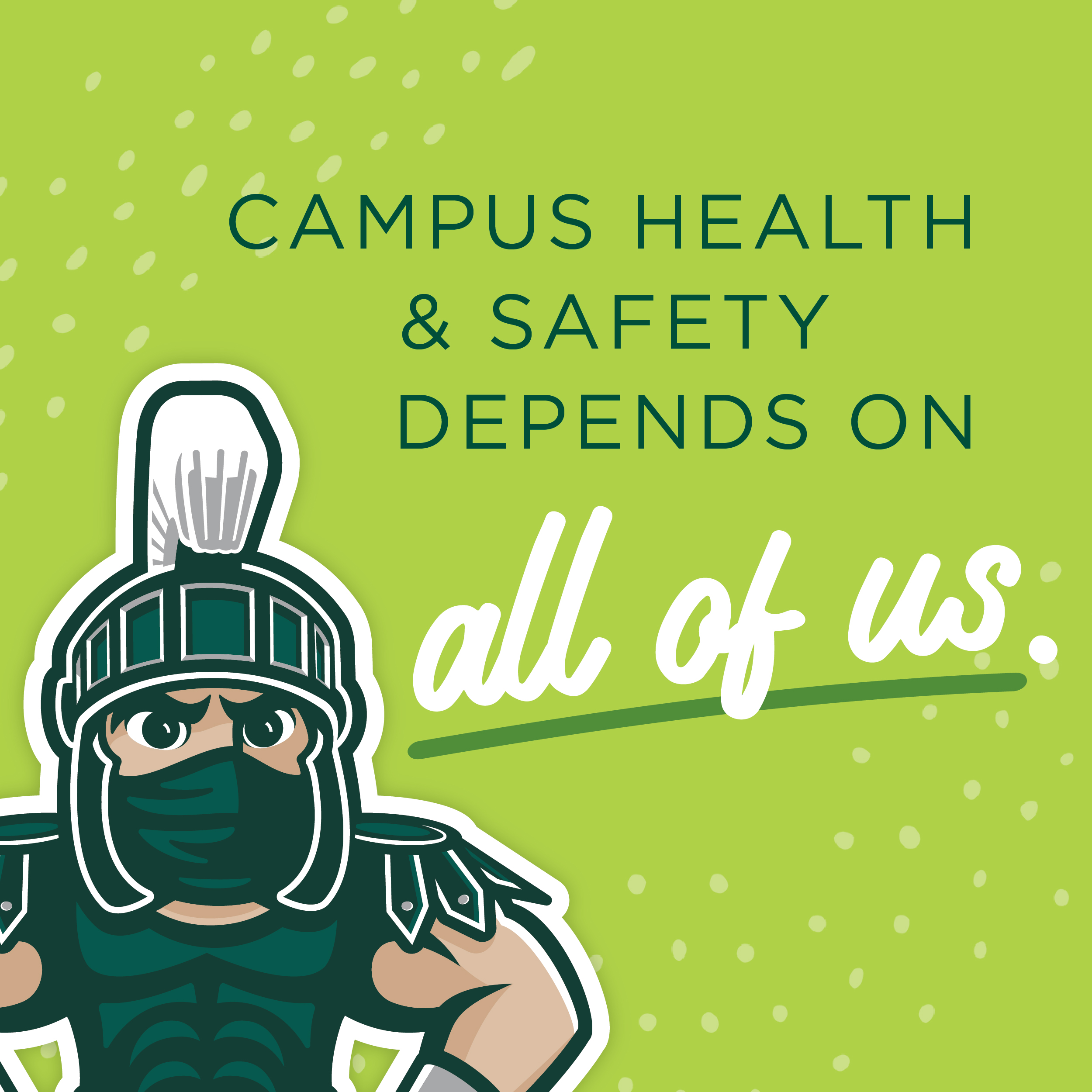 """Stay Safe"" Graphic with Masked Sparty"